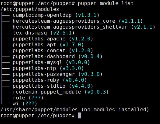 puppet module list